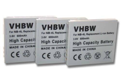 3x Batería Para Canon NB-4L H IXUS 80 40 50 55 IXY TX1 Tx 1