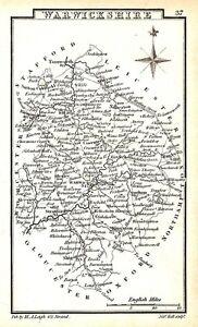 Antique map, Warwickshire …