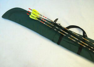 """Traditional Archery CASE for UNSTRUNG RECURVE BOW w/ slide-on quiver Green  66"""""""