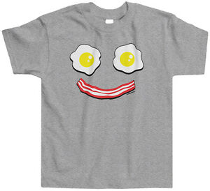 d2e0db34d Threadrock Kids Bacon and Eggs Smiley Face Toddler T-shirt Cute Food ...