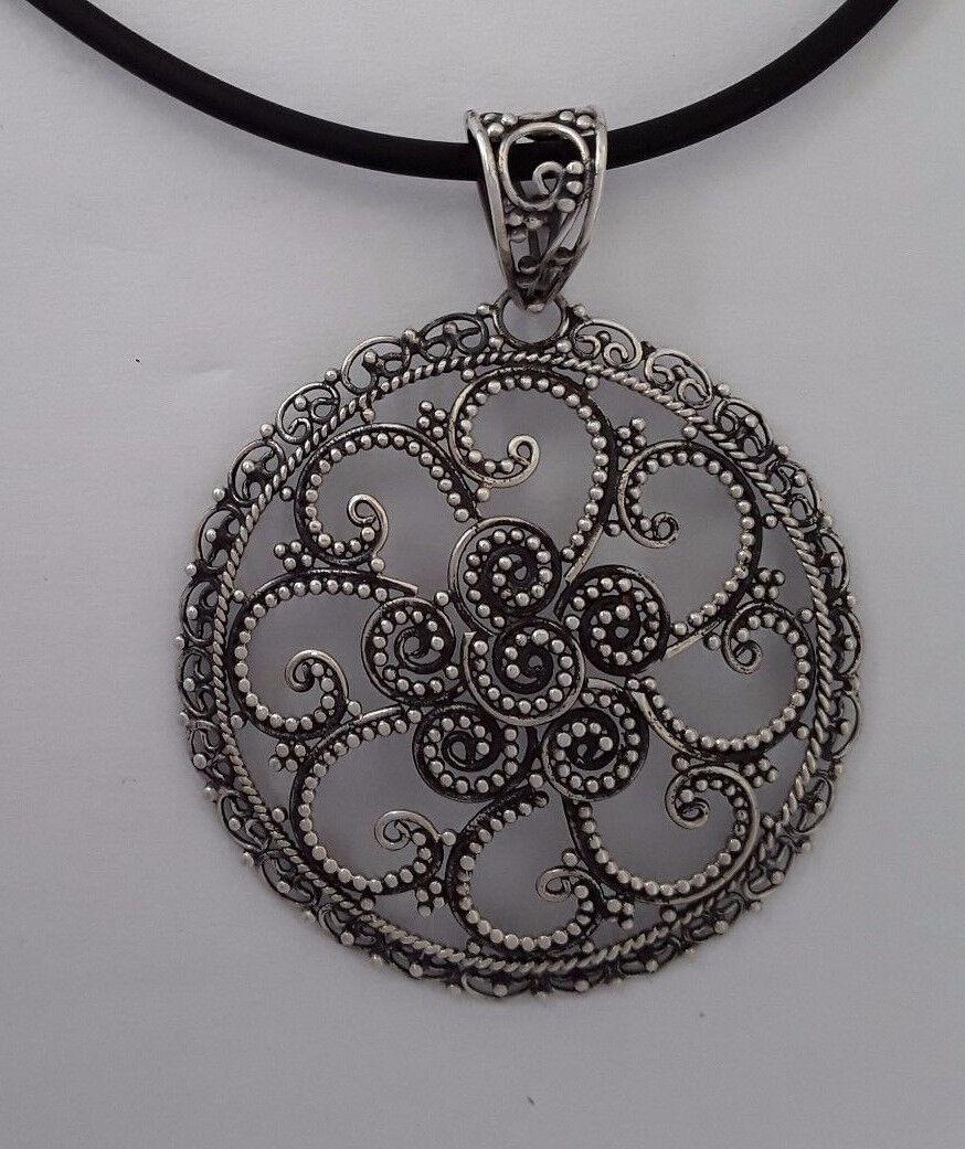 AGNES CREATIONS    SUPERBE PENDENTIF ROND EN silver 925 CISELE