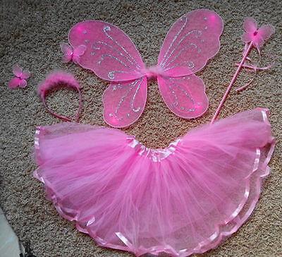 Fairy Wings Pixie Wings Fairy Pink Blue Butterfly Tu Tu Girls Costume Cosplay US