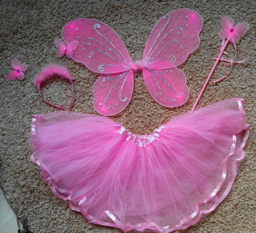 COSPLAY DRESS Fairy Butterfly Pixie Costume Tutu Skirt Wings Wand Set FOR Party