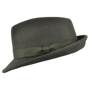 5eb8bf78e8a Image is loading Army-Green-Handmade-Crushable-100-Felt-Wool-Trilby-