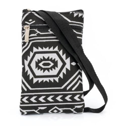Black /& white Aztèque sur épaule sac de côté Vacances Festival