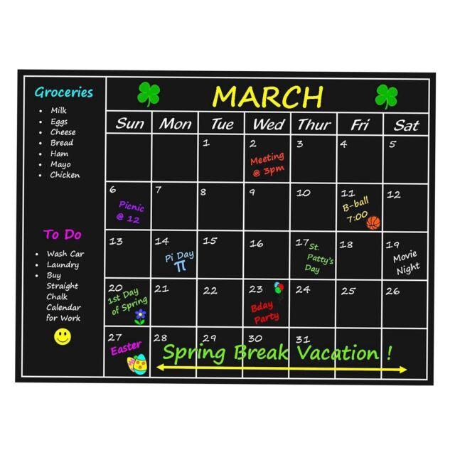 weekly planner calendar 2018 chalkboard blackboard calender wall
