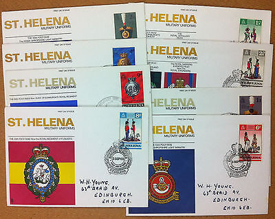 Friendly Fdc - St. Helena 1969 1970 - Military Uniforms - Cockades And Helmets - 8 Buste Pure White And Translucent