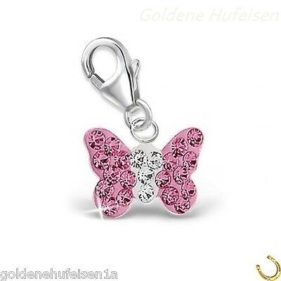 Rosa cristal mariposa charm remolque 925 real plata idea de regalo//ch-08