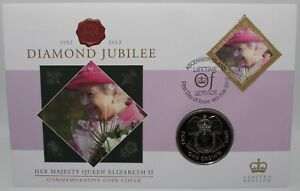 2012-Diamond-Jubilee-Ascension-Island-FDC-w-One-Crown-Coin-Coins-KM-Coins