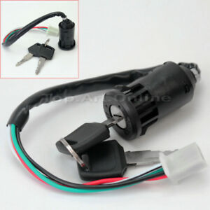 Electric Door ATV Ignition With 2 Keys Switch Lock 4 Wires Dustproof Cap