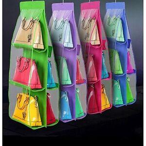 Wardrobe Closet Hanger Hanging Handbag Storage Bag Tidy Organiser 6 Pockets US