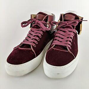 BUSCEMI-Burgundy-Velvet-w-Gold-Detail-Italian-Designer-Leather-Sneakers-Size-45