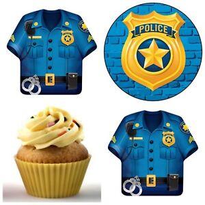 Polizei-Auto-Polizist-Essbar-Tortenaufleger-Party-Deko-Muffinaufleger-Cupcake-neu
