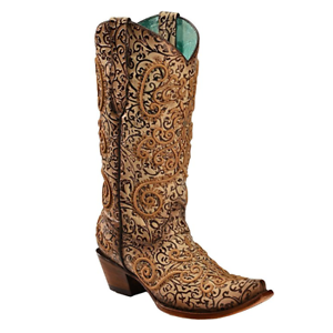 Corral Ladies Nude/Purple Embroidery Chameleon Sun Effect Boots C3360