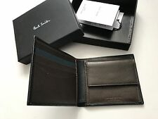 Paul Smith Mens Black Safiano 8 CC Bifold Wallet with Coin Pouch  - Boxed