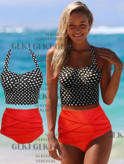 Cutest Retro Swimsuit Swimwear Vintage Pin Up High Waist Bikini Set S/M/L