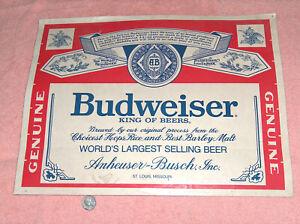 1980s Busweiser Beer Anheuser Busch 14X18 Man Cave Pub Bar Wall Art Sticker Sign