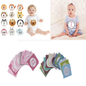 12pcs//Set Paper Baby Monthly Milestone Sticker Baby Photo Prop 1-12 Months