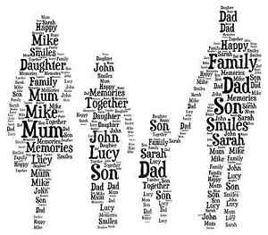 Personalised  Mum and Baby Mum and child  son daughter  word art picture