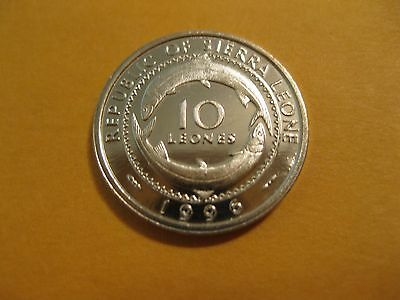 1996 Sierra Leone 10 leones animal fish coin