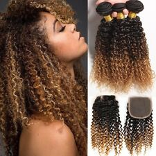 8A 300g/3bundles Unprocessed Ombre 1b/4/27 Brazillian Deep Curly Hair& Closure