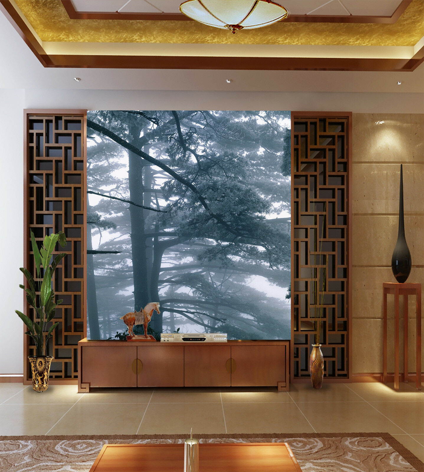 3D Forest Smoke 822 Wallpaper Mural Paper Wall Print Wallpaper Murals UK Lemon
