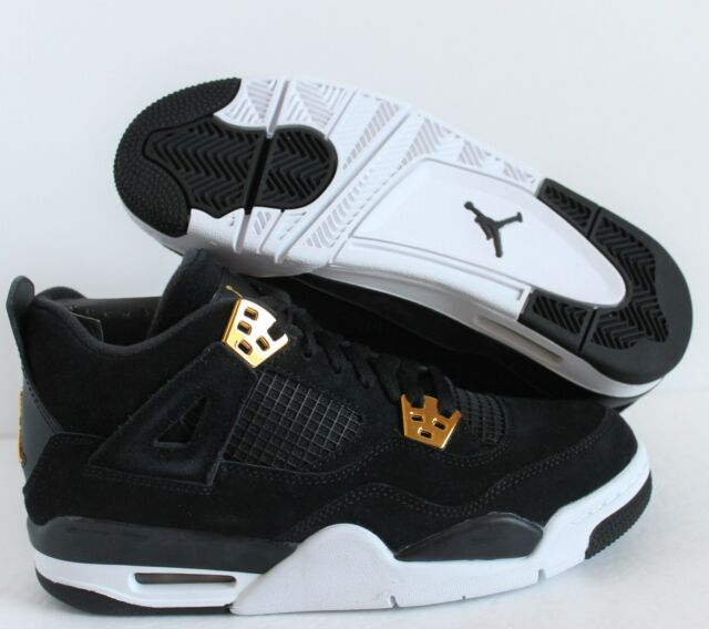 NIKE AIR JORDAN 4 RETRO BG BLACK-GOLD ROYALTY SZ 6.5Y-WOMENS SZ 8 [408452-032]