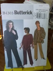 Oop-Butterick-easy-4303-misses-poncho-tank-top-pants-sz-18-32-NEW