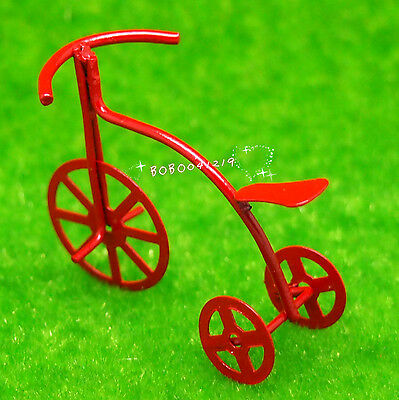 Dollhouse Miniature  Garden Toy Small Metal Red bycycle L5cm F4621
