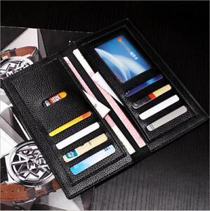 Men/'s Leather ID Card Holder Zip Coin Wallet Purse Clutch Checkbook Billfold