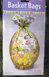 2 x easter eggs hamper wrap cellophane basket gift wrap large image is loading 2 x easter eggs hamper wrap cellophane basket negle Choice Image