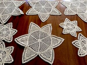 Vintage-Hand-Crochet-Cream-Sand-STAR-Doily-Lot-Place-Mat-Set