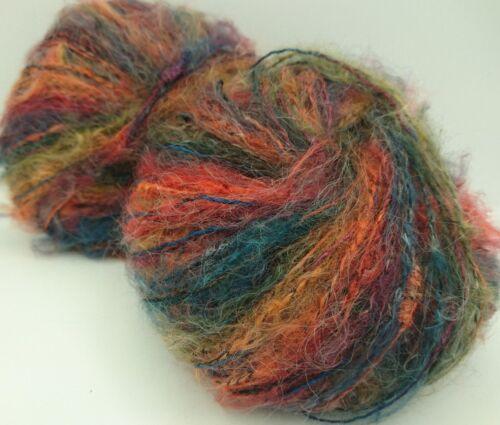 5 Pelotes laine 45 /% mohair couleur fantaisie   ////// fabriqué en France