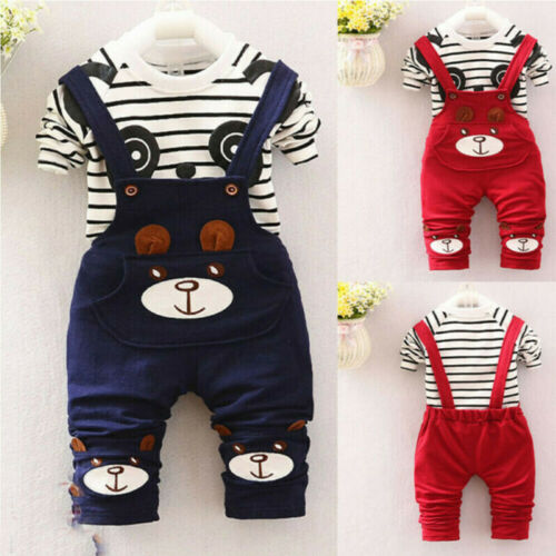 Toddler Kids Baby Boys Girls Panda Print Tops+Pants Overalls Outfit Clothes Set