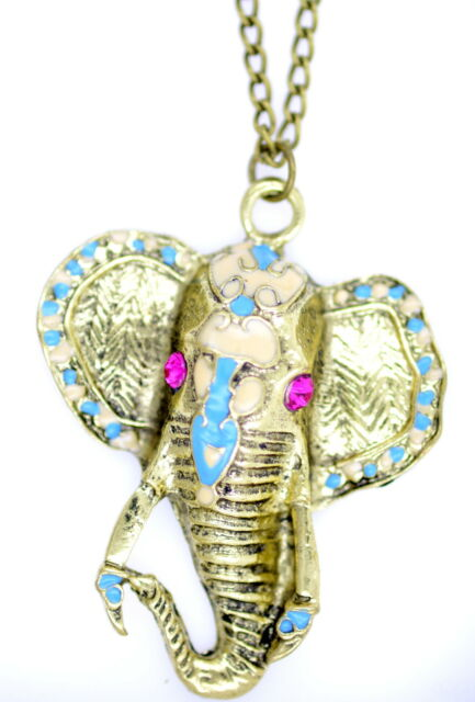 Vintage bronze enamel crystal elephant charm necklace