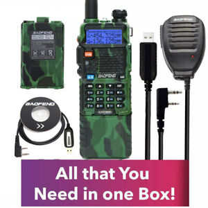 Extended Kit Baofeng Radio UV-5R MK4 5W MP with 3800mAh Battery,Speak Mic,Cable