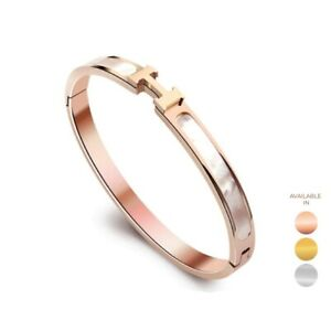 Mother of Pearl bracelet Overlay With Close Hinged Bangle Free Engraving