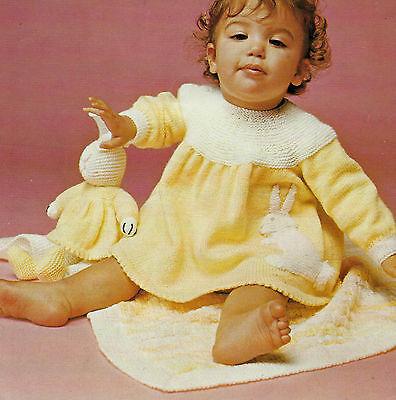 "Baby Dress, Toy Rabbit and Pram Cover Blanket Knitting Pattern 18-20"" DK 668"