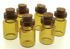 6 x Amber Fillable VETRO VUOTA STREGA CHARM Bottiglie Con Sughero per oli 20x12mm
