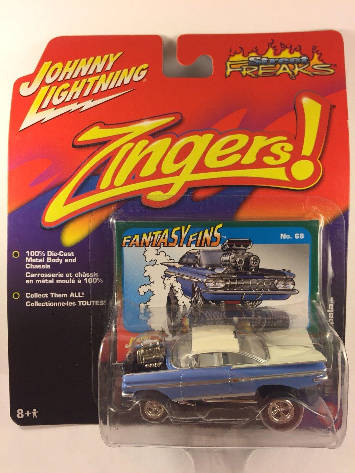 Johnny Lightning Street Freaks Zingers '59 1959 Chevy Impala blu blu blu Die-cast 1/64 cd3212