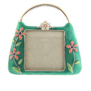 Rhinestone-Enamel-Handbag-Photo-Frame-Green-Floral-4x4