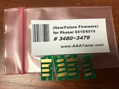 4 New Firmware Toner Chip 3690 ~ 3692 WC 6515 Refill for Xerox Phaser 6510