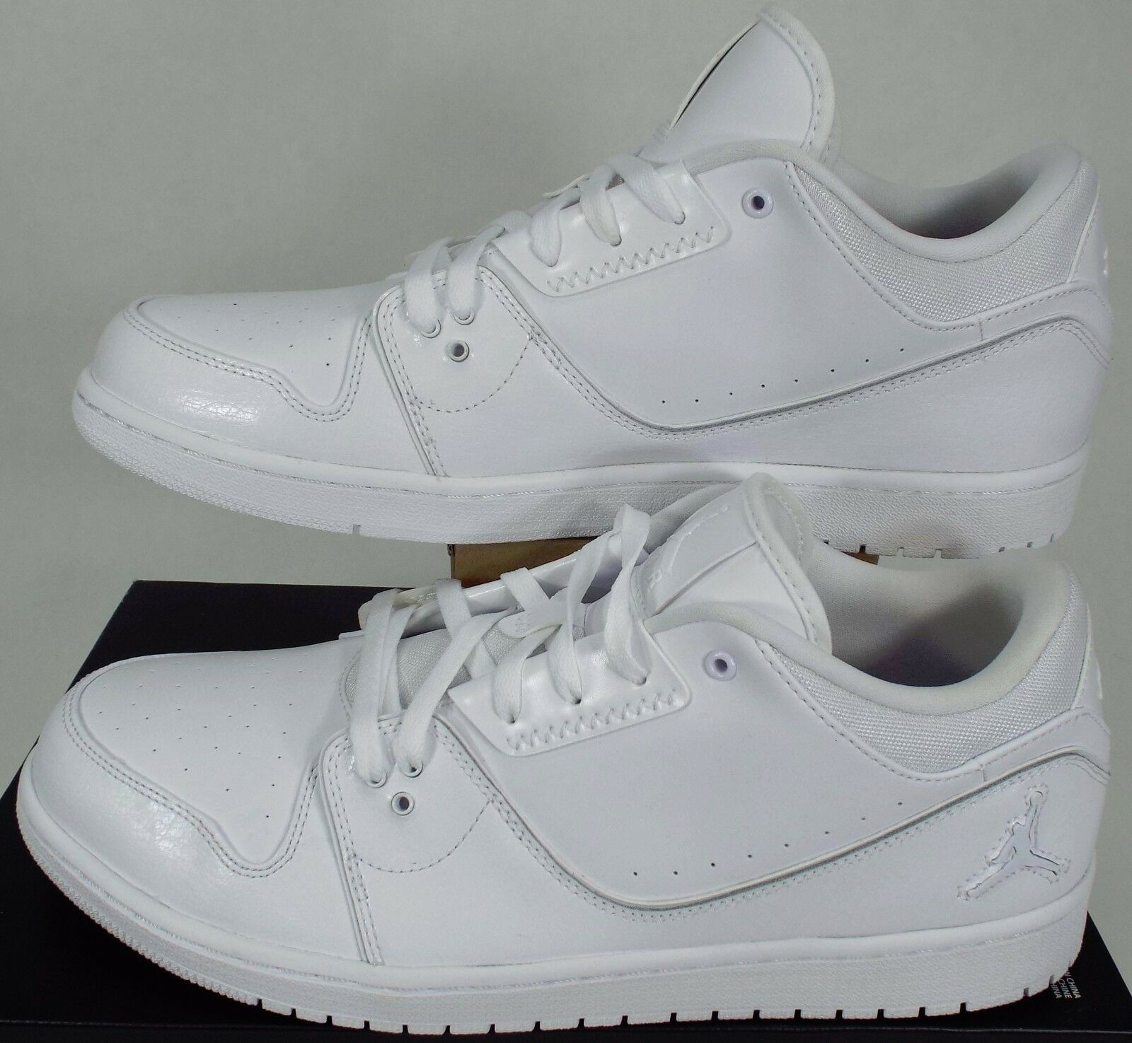 New Mens 14 NIKE Air Jordan 1 Flight 2 Low White Leather shoes  95 654465-120