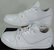 NIKE AIR Jordan 1 Flight 2 Low White Leather Shoes Men's Size 13 654465-120