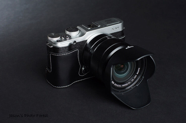 Genuine real Leather Half Camera Case bag for FUJIFILM X-M1 XM1 X-A1 X-A2 Black