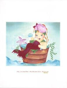 MERMAID CHILD PINK STARFISH SEAWEED BUBBLE BATH RUBY RED LAST S/N L/E 1/20 PRINT