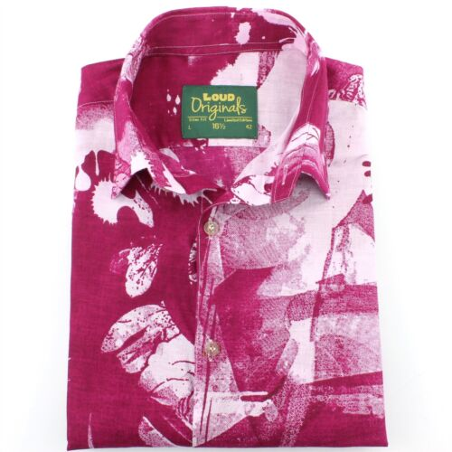 Shirt Psychedelic Originals Tailored Retro Pink Mens Loud Fancy Fit Leaves UA8Pndxw