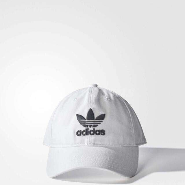 250b8f43 adidas Originals Trefoil Classic White Black Cap Adjustable Strap Hat BR9720