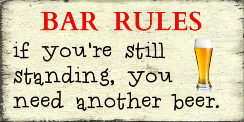 Retro Shabby Chic Style Plaque Humour Sign Funn yBar Rules Gift