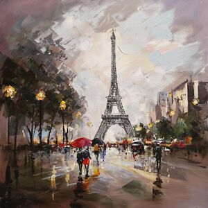 Details About Modern Abstract Hand Painted Eiffel Tower Paris Oil Painting Wall Art Home Decor